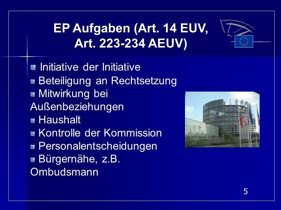5 EP Aufgaben (Art. 14 EUV, Art. 223-234 AEUV) Initiative der Initiative Beteiligung an Rechtsetzung Beteiligung an Rechtsetzung Mitwirkung bei Außenb