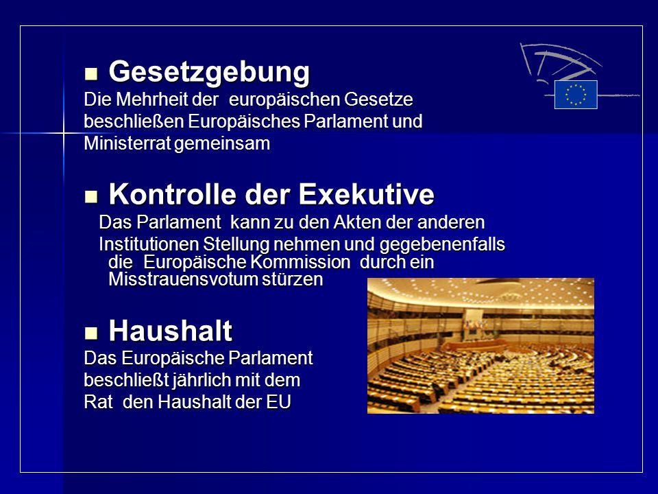 Gesetzgebung Gesetzgebung Die Mehrheit der europäischen Gesetze beschließen Europäisches Parlament und Ministerrat gemeinsam Kontrolle der Exekutive K