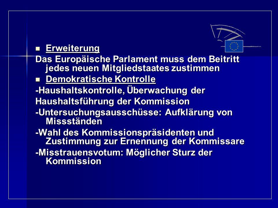 Erweiterung Erweiterung Das Europäische Parlament muss dem Beitritt jedes neuen Mitgliedstaates zustimmen Demokratische Kontrolle Demokratische Kontro