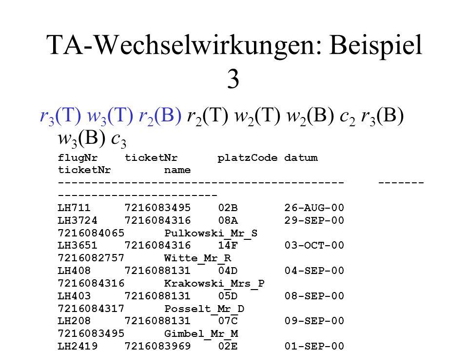 TA-Wechselwirkungen: Beispiel 3 r 3 (T) w 3 (T) r 2 (B) r 2 (T) w 2 (T) w 2 (B) c 2 r 3 (B) w 3 (B) c 3 flugNr ticketNr platzCode datum ticketNr name