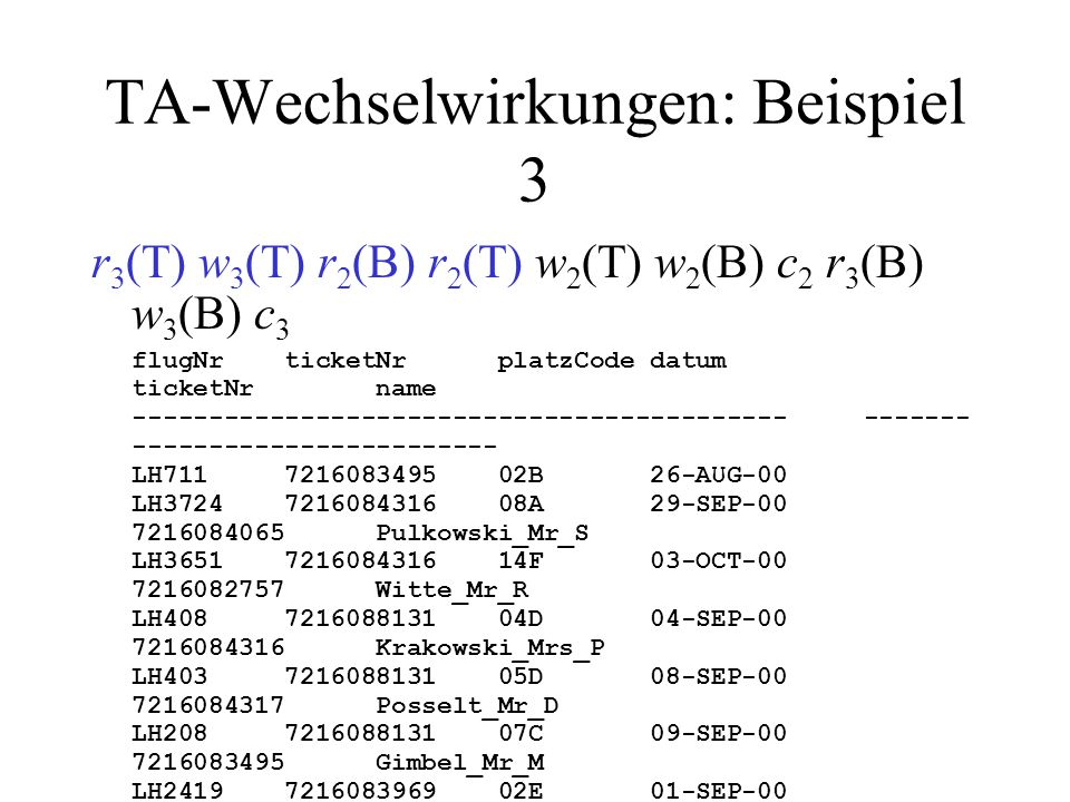 TA-Wechselwirkungen: Beispiel 3 r 3 (T) w 3 (T) r 2 (B) r 2 (T) w 2 (T) w 2 (B) c 2 r 3 (B) w 3 (B) c 3 flugNr ticketNr platzCode datum ticketNr name ------------------------------------------- ------- ------------------------ LH711 7216083495 02B 26-AUG-00 LH3724 7216084316 08A 29-SEP-00 7216084065 Pulkowski_Mr_S LH3651 7216084316 14F 03-OCT-00 7216082757 Witte_Mr_R LH408 7216088131 04D 04-SEP-00 7216084316 Krakowski_Mrs_P LH403 7216088131 05D 08-SEP-00 7216084317 Posselt_Mr_D LH208 7216088131 07C 09-SEP-00 7216083495 Gimbel_Mr_M LH2419 7216083969 02E 01-SEP-00 7216083971 Muelle_Mrs_J LH4080 7216084728 10K 07-AUG-00 7216083970 Bender_Mr_P LH4171 7216084728 07A 11-AUG-00 7216080815 Lockemann_Mr_P LH191 7216084728 01K 11-AUG-00 7216080816 Simpson_Mr_B LH208 7216084069 05D 01-AUG-00 7216080817 Weinand_Mr_C LH3724 7216088132 07E 14-AUG-00 LH458 7216080815 81K 03-SEP-00 LH710 7216082757 34D 10-SEP-00 LH400 7216084317 05G 21-JUL-00 LH401 7216084317 05D 05-AUG-00 LH500 7216087338 19D 12-AUG-00 LH500 7216083970 19G 12-AUG-00 LH500 7216080817 19E 12-AUG-00 LH778 7216083911 83K 05-AUG-00 LH6390 7216083911 82A 06-AUG-00 T 2 liest TICKET und selektiert.