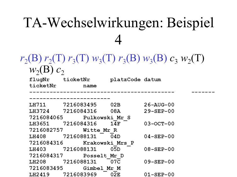 TA-Wechselwirkungen: Beispiel 4 r 2 (B) r 2 (T) r 3 (T) w 3 (T) r 3 (B) w 3 (B) c 3 w 2 (T) w 2 (B) c 2 flugNr ticketNr platzCode datum ticketNr name