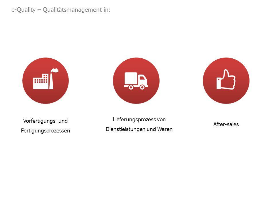 e-Quality – Qualitätsmanagement in: Lieferungsprozess von Dienstleistungen und Waren Vorfertigungs- und Fertigungsprozessen After-sales