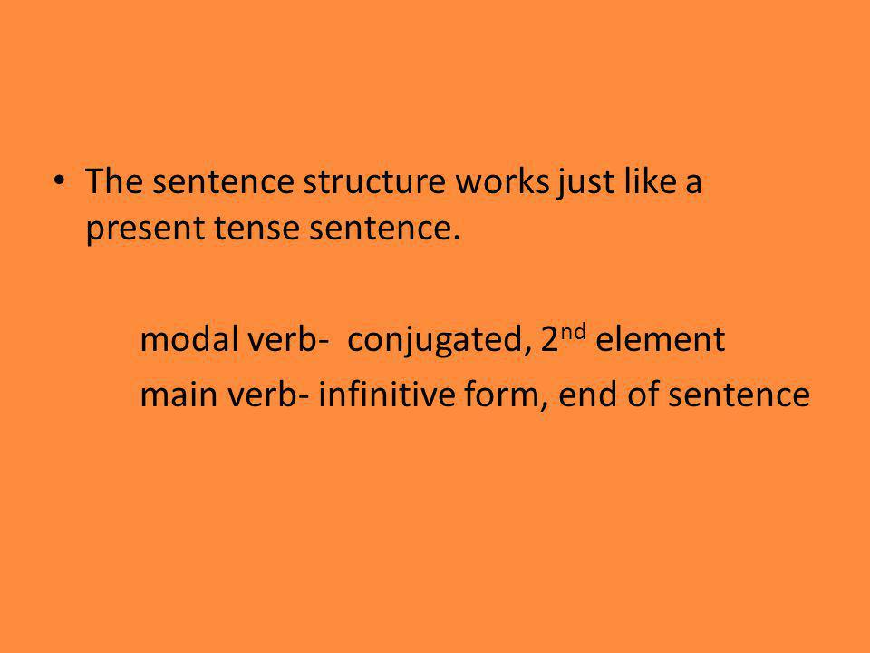 The sentence structure works just like a present tense sentence.