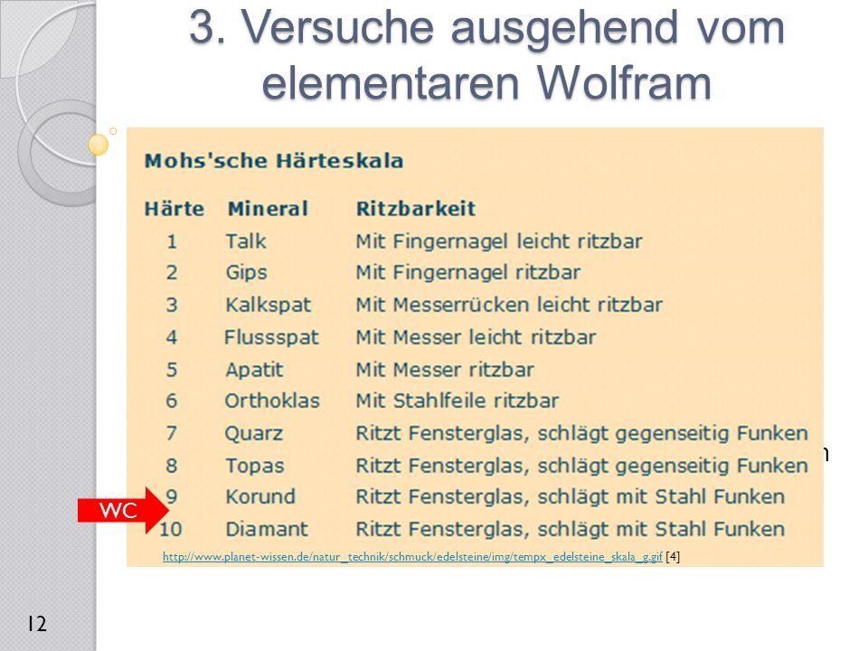 3.2 Herstellung des Widiametalls  Reaktionsgleichung:  Reaktionsprodukt: Wolframcarbid  Verwendung: Werkzeugindustrie, Kugelschreiberkugel  Härte
