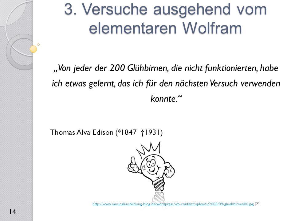 3. Versuche ausgehend vom elementaren Wolfram 14 http://www.musicalausbildung-blog.de/wordpress/wp-content/uploads/2008/09/gluehbirne400.jpghttp://www