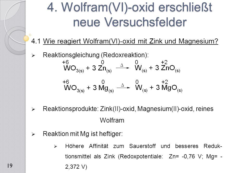 4.1 Wie reagiert Wolfram(VI)-oxid mit Zink und Magnesium?  Reaktionsgleichung (Redoxreaktion):  Reaktionsprodukte: Zink(II)-oxid, Magnesium(II)-oxid