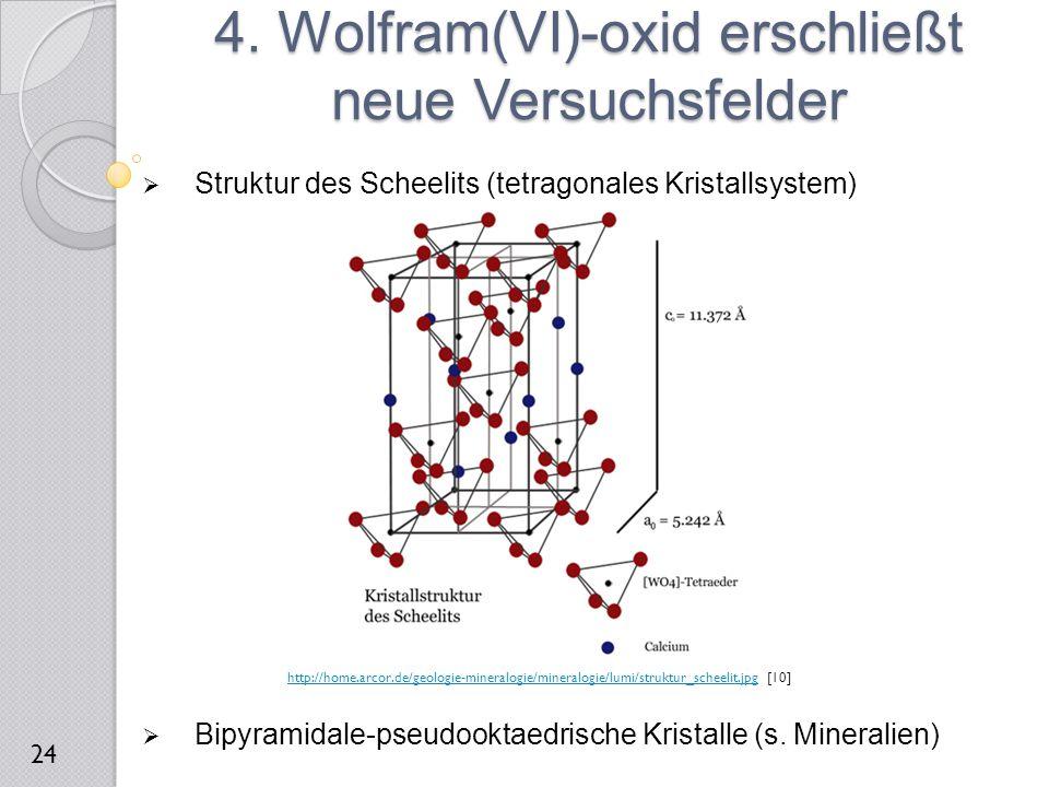  Struktur des Scheelits (tetragonales Kristallsystem)  Bipyramidale-pseudooktaedrische Kristalle (s. Mineralien) 4. Wolfram(VI)-oxid erschließt neue