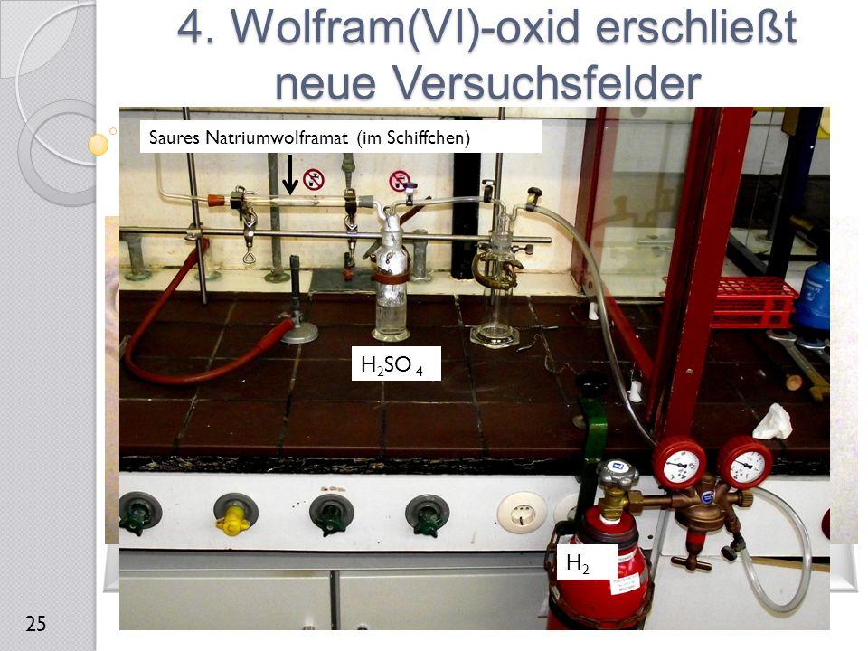 4. Wolfram(VI)-oxid erschließt neue Versuchsfelder 25 H2H2 H 2 SO 4 Saures Natriumwolframat (im Schiffchen)