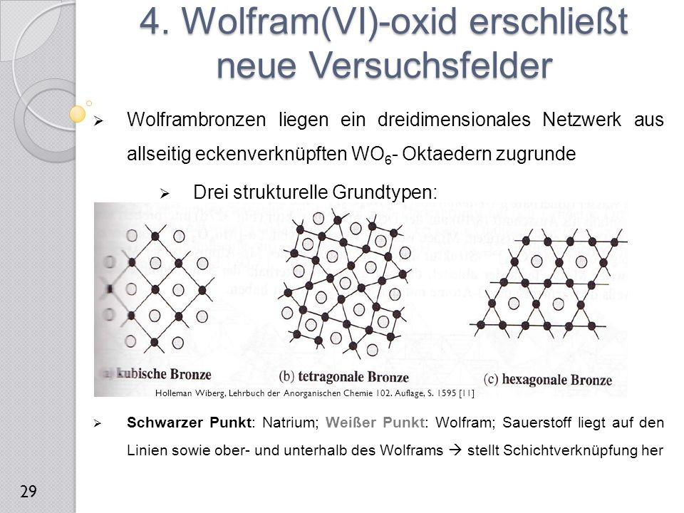 Wolframbronzen liegen ein dreidimensionales Netzwerk aus allseitig eckenverknüpften WO 6 - Oktaedern zugrunde  Drei strukturelle Grundtypen:  Schw
