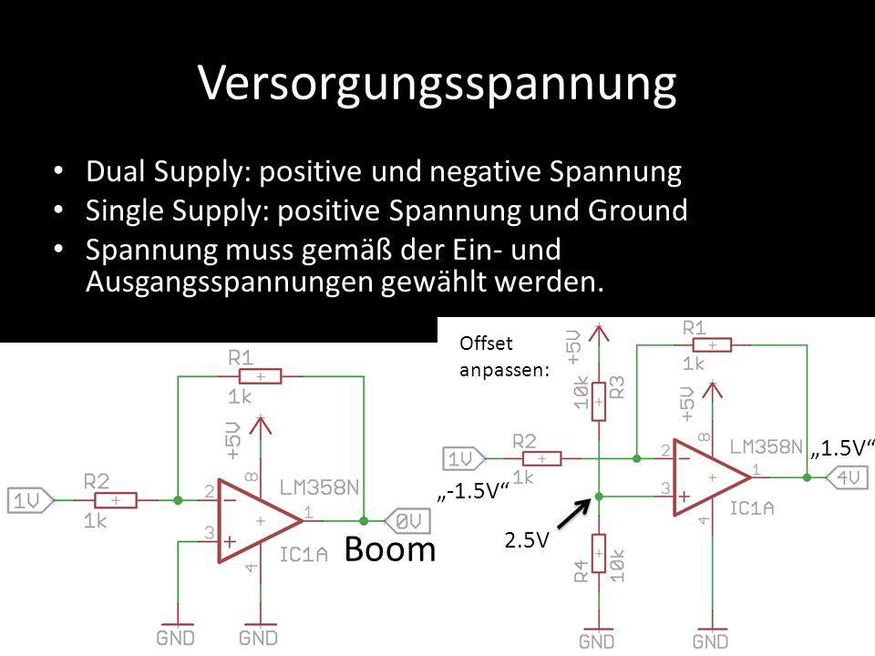 Versorgungsspannung Dual Supply: positive und negative Spannung Single Supply: positive Spannung und Ground Spannung muss gemäß der Ein- und Ausgangss