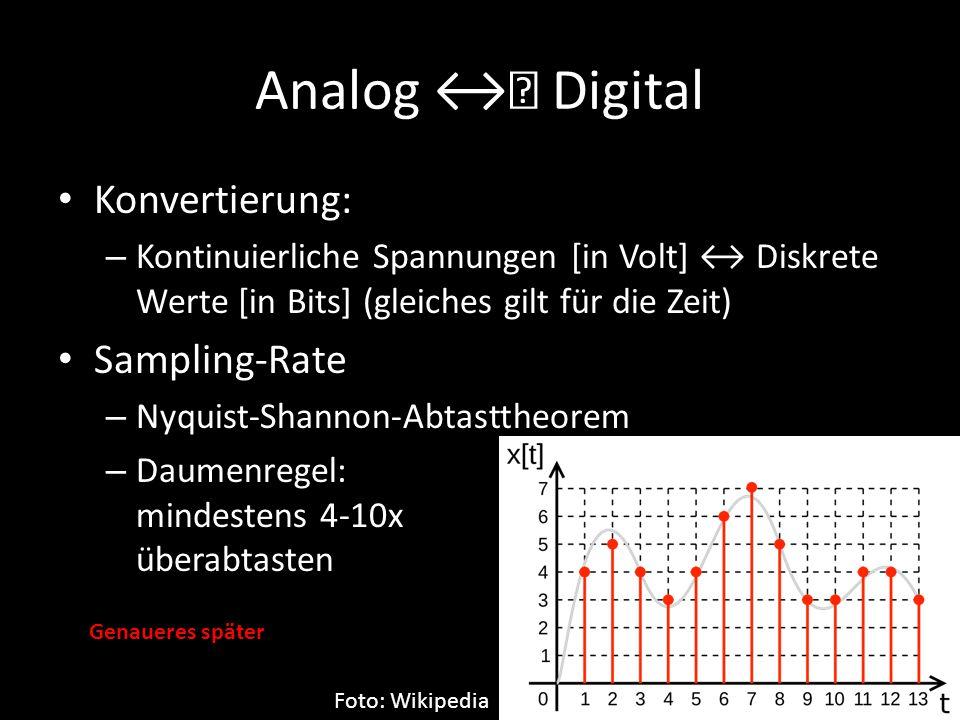 Analog ↔ Digital Konvertierung: – Kontinuierliche Spannungen [in Volt] ↔ Diskrete Werte [in Bits] (gleiches gilt für die Zeit) Sampling-Rate – Nyquist
