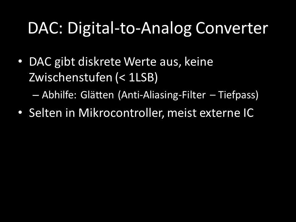 DAC: Digital-to-Analog Converter DAC gibt diskrete Werte aus, keine Zwischenstufen (< 1LSB) – Abhilfe: Glätten (Anti-Aliasing-Filter – Tiefpass) Selte