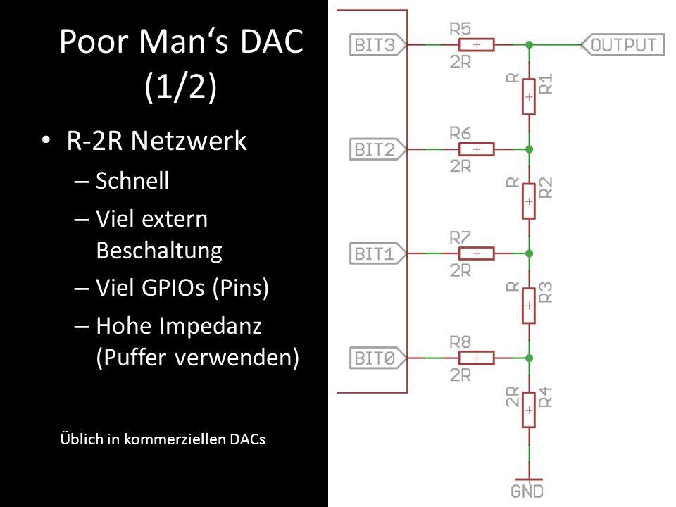 Poor Man's DAC (1/2) R-2R Netzwerk – Schnell – Viel extern Beschaltung – Viel GPIOs (Pins) – Hohe Impedanz (Puffer verwenden) Üblich in kommerziellen