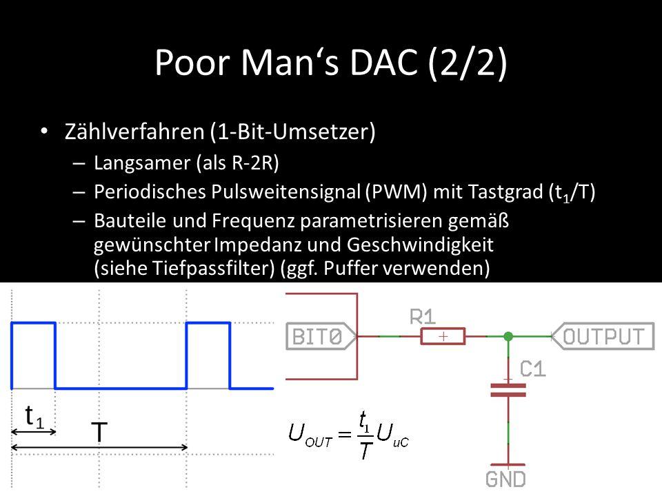 Poor Man's DAC (2/2) Zählverfahren (1-Bit-Umsetzer) – Langsamer (als R-2R) – Periodisches Pulsweitensignal (PWM) mit Tastgrad (t 1 /T) – Bauteile und