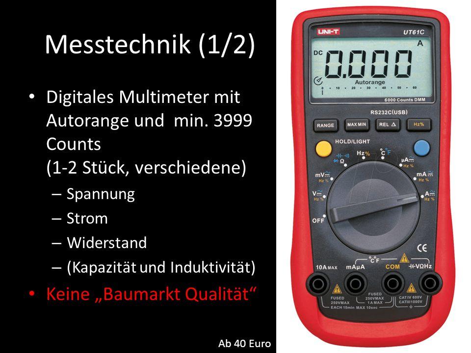 Messtechnik (1/2) Digitales Multimeter mit Autorange und min. 3999 Counts (1-2 Stück, verschiedene) – Spannung – Strom – Widerstand – (Kapazität und I