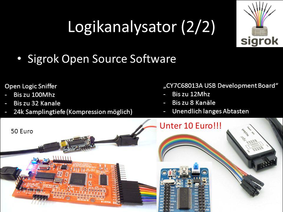 Logikanalysator (2/2) Sigrok Open Source Software Open Logic Sniffer -Bis zu 100Mhz -Bis zu 32 Kanale -24k Samplingtiefe (Kompression möglich) 50 Euro