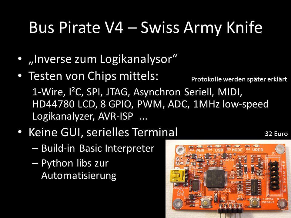 """Bus Pirate V4 – Swiss Army Knife """"Inverse zum Logikanalysor"""" Testen von Chips mittels: 1-Wire, I²C, SPI, JTAG, Asynchron Seriell, MIDI, HD44780 LCD, 8"""