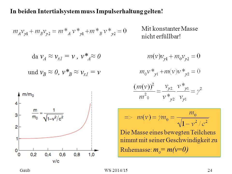 In beiden Intertialsystem muss Impulserhaltung gelten! Die Masse eines bewegten Teilchens nimmt mit seiner Geschwindigkeit zu Ruhemasse: m o = m(v=0 )