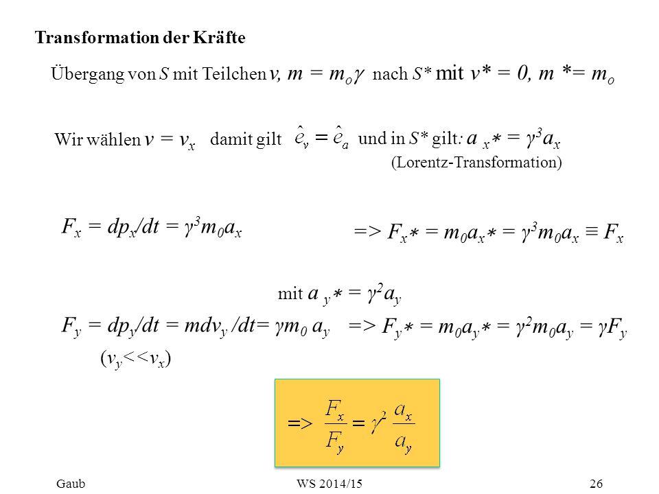 Transformation der Kräfte Übergang von S mit Teilchen v, m = m o  nach S* mit v* = 0, m *= m o F x = dp x /dt = γ 3 m 0 a x und in S* gilt: a x ∗ = γ 3 a x => F x ∗ = m 0 a x ∗ = γ 3 m 0 a x ≡ F x F y = dp y /dt = mdv y /dt= γm 0 a y => F y ∗ = m 0 a y ∗ = γ 2 m 0 a y = γF y Wir wählen v = v x damit gilt (Lorentz-Transformation) mit a y ∗ = γ 2 a y (v y <<v x ) Gaub26WS 2014/15