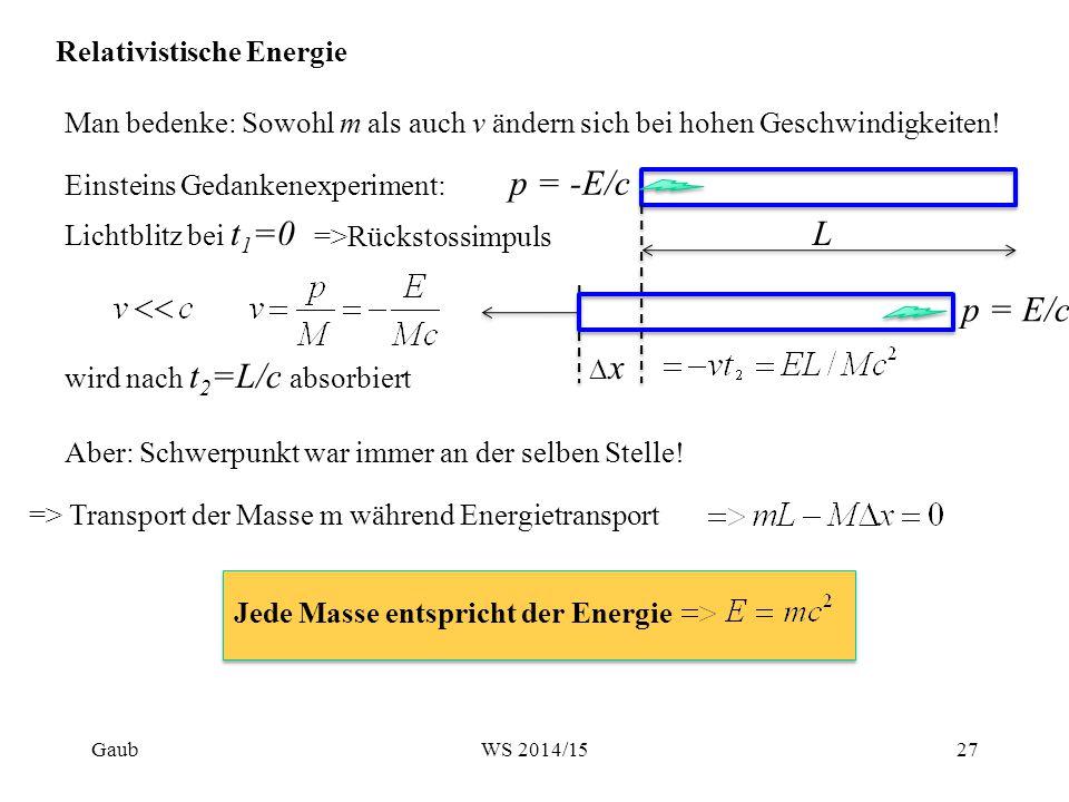 Relativistische Energie Man bedenke: Sowohl m als auch v ändern sich bei hohen Geschwindigkeiten! Einsteins Gedankenexperiment: L Lichtblitz bei t 1 =