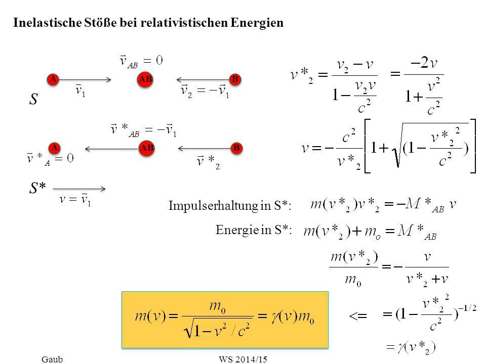 Inelastische Stöße bei relativistischen Energien S A ABB A B S* Impulserhaltung in S*: Energie in S*: GaubWS 2014/15
