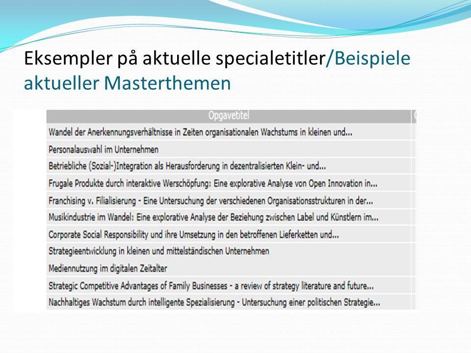 Eksempler på aktuelle specialetitler/Beispiele aktueller Masterthemen