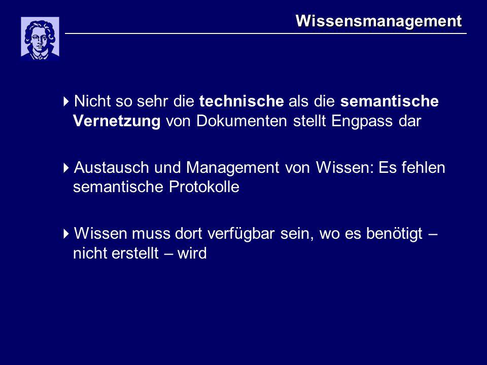 Wissensmanagement  Nicht so sehr die technische als die semantische Vernetzung von Dokumenten stellt Engpass dar  Austausch und Management von Wisse