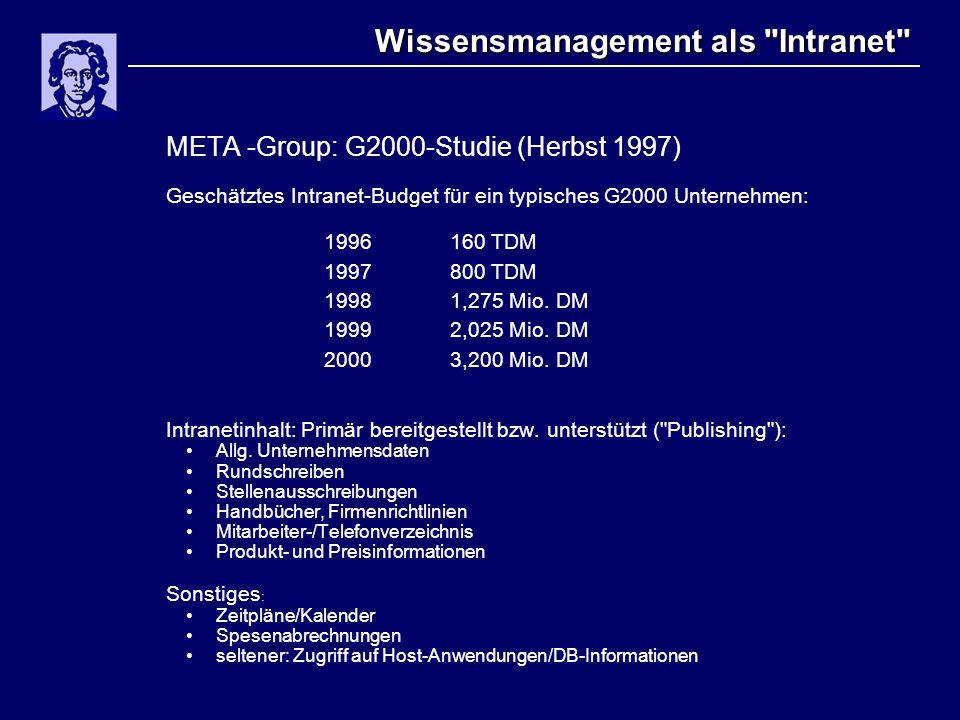 Wissensmanagement als Intranet META -Group: G2000-Studie (Herbst 1997) Geschätztes Intranet-Budget für ein typisches G2000 Unternehmen: 1996160 TDM 1997800 TDM 1998 1,275 Mio.