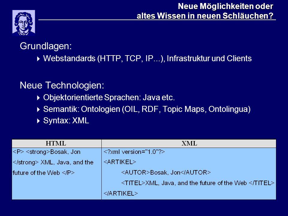 Neue Möglichkeiten oder altes Wissen in neuen Schläuchen? Grundlagen:  Webstandards (HTTP, TCP, IP...), Infrastruktur und Clients Neue Technologien: