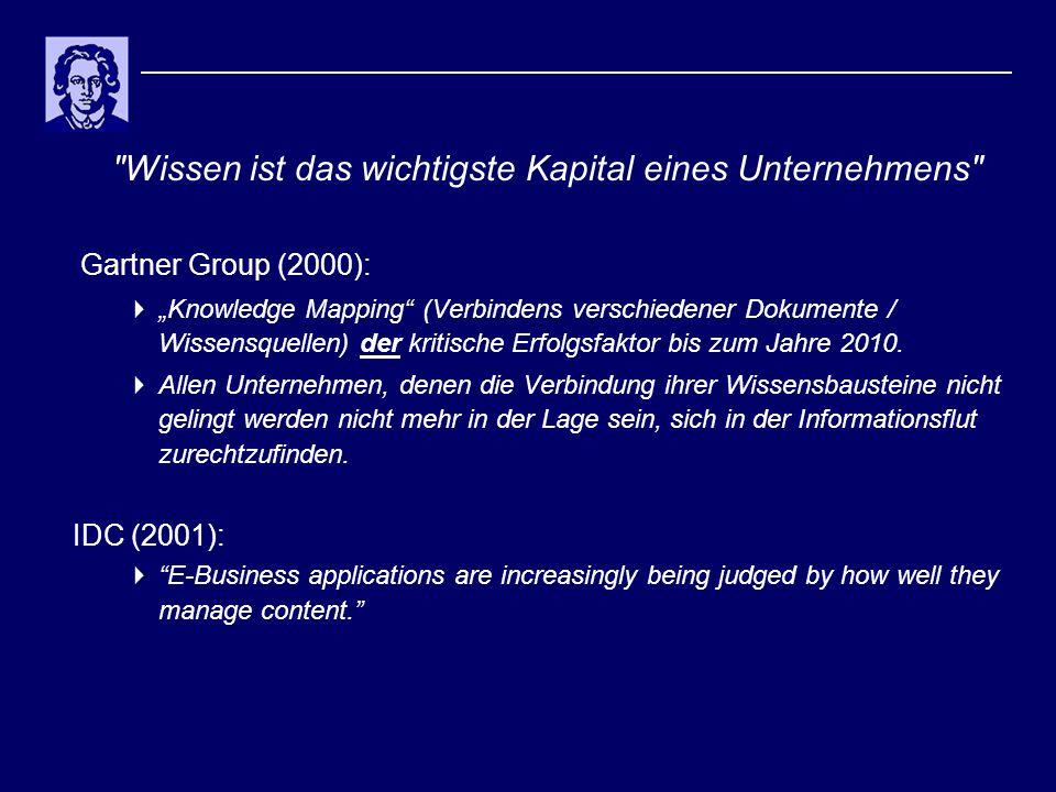 """Wissen ist das wichtigste Kapital eines Unternehmens Gartner Group (2000):  """"Knowledge Mapping (Verbindens verschiedener Dokumente / Wissensquellen) der kritische Erfolgsfaktor bis zum Jahre 2010."""