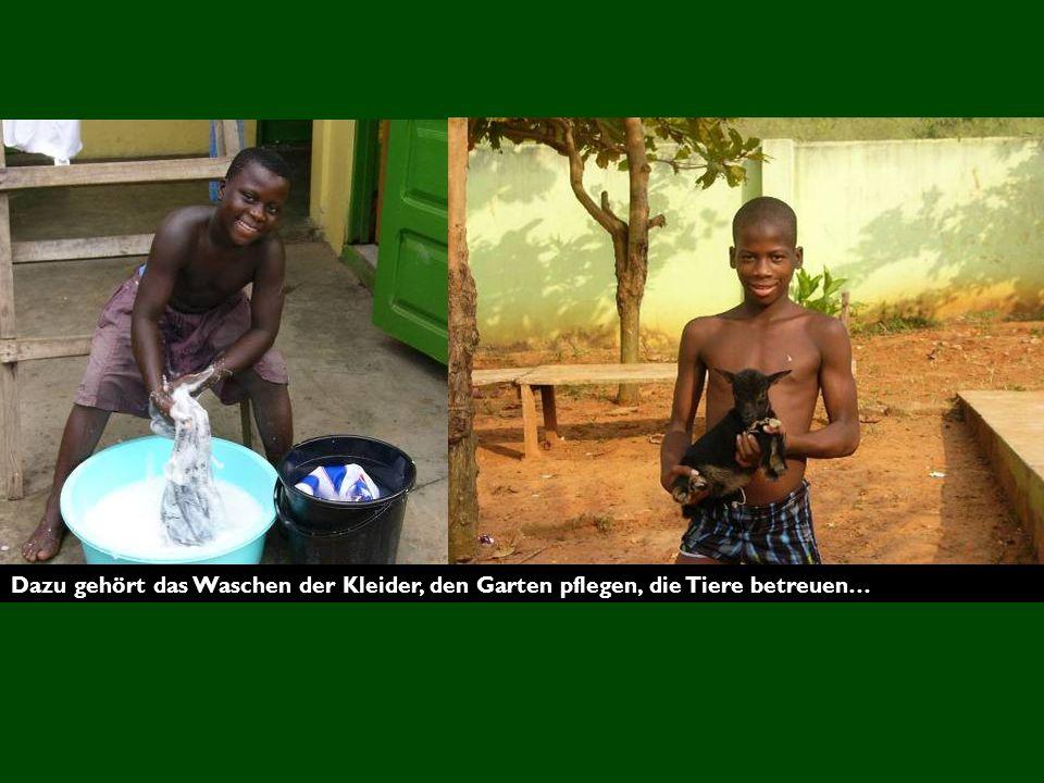 Dazu gehört das Waschen der Kleider, den Garten pflegen, die Tiere betreuen…