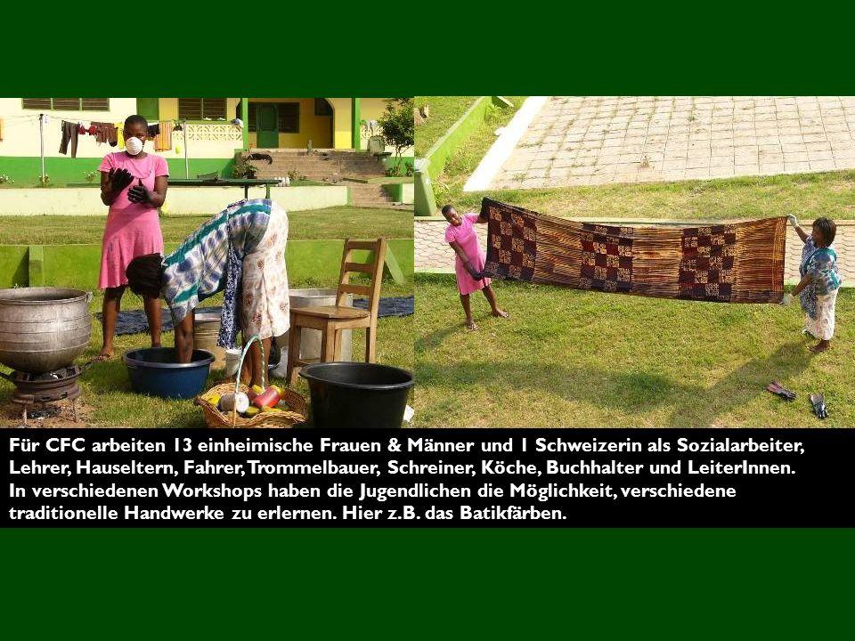 Für CFC arbeiten 13 einheimische Frauen & Männer und 1 Schweizerin als Sozialarbeiter, Lehrer, Hauseltern, Fahrer, Trommelbauer, Schreiner, Köche, Buchhalter und LeiterInnen.