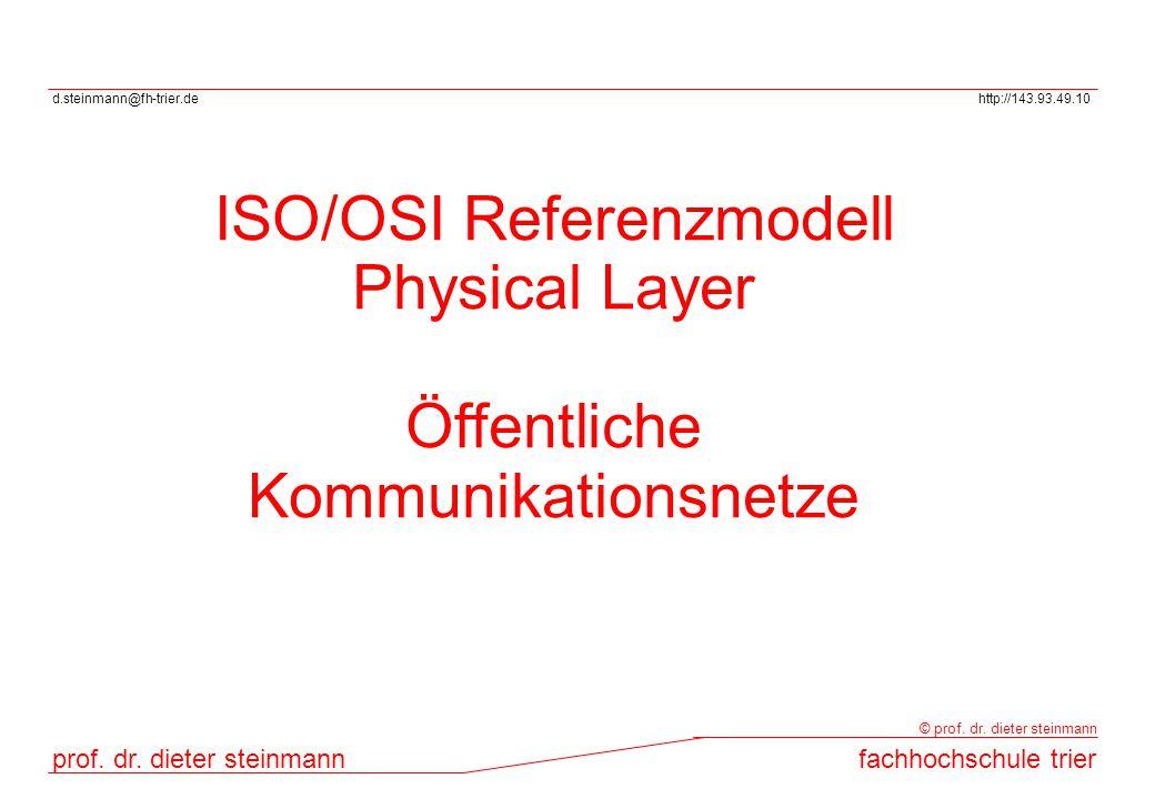 d.steinmann@fh-trier.dehttp://143.93.49.10 prof. dr. dieter steinmannfachhochschule trier © prof. dr. dieter steinmann ISO/OSI Referenzmodell Physical