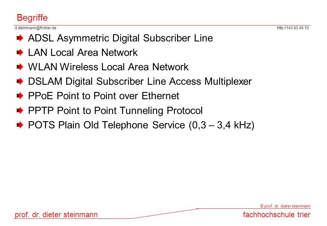 d.steinmann@fh-trier.dehttp://143.93.49.10 prof. dr. dieter steinmannfachhochschule trier © prof. dr. dieter steinmann Begriffe ADSL Asymmetric Digita