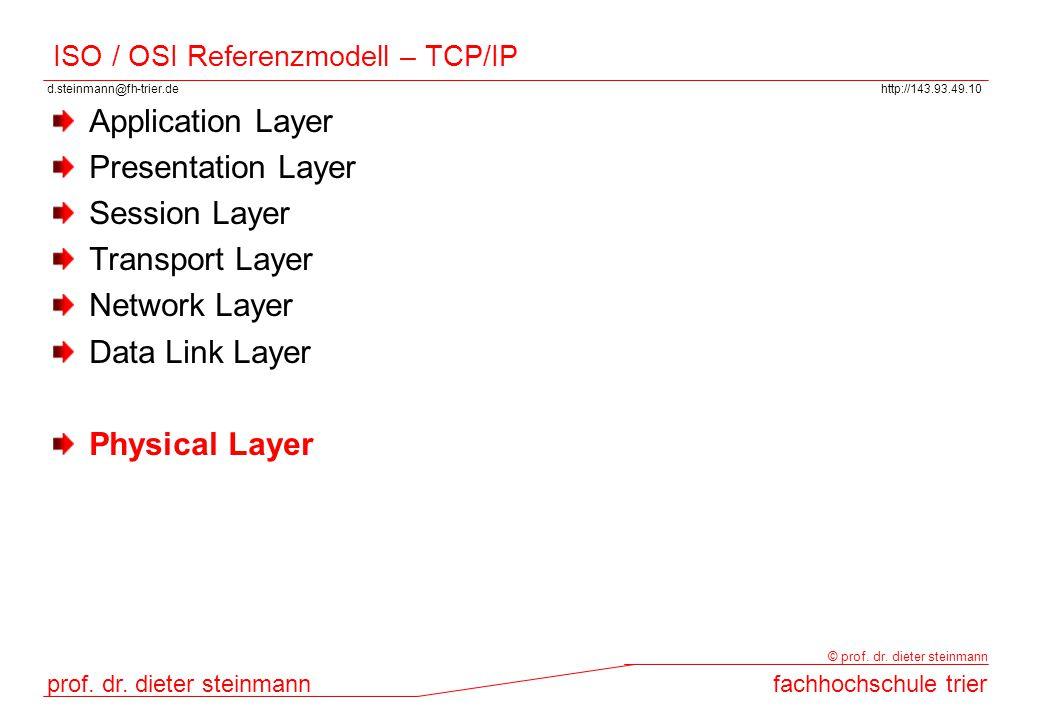 d.steinmann@fh-trier.dehttp://143.93.49.10 prof. dr. dieter steinmannfachhochschule trier © prof. dr. dieter steinmann ISO / OSI Referenzmodell – TCP/