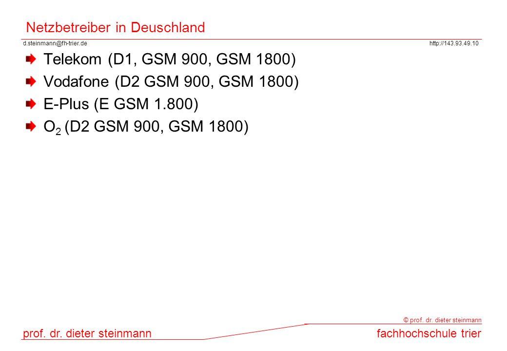 d.steinmann@fh-trier.dehttp://143.93.49.10 prof. dr. dieter steinmannfachhochschule trier © prof. dr. dieter steinmann Netzbetreiber in Deuschland Tel