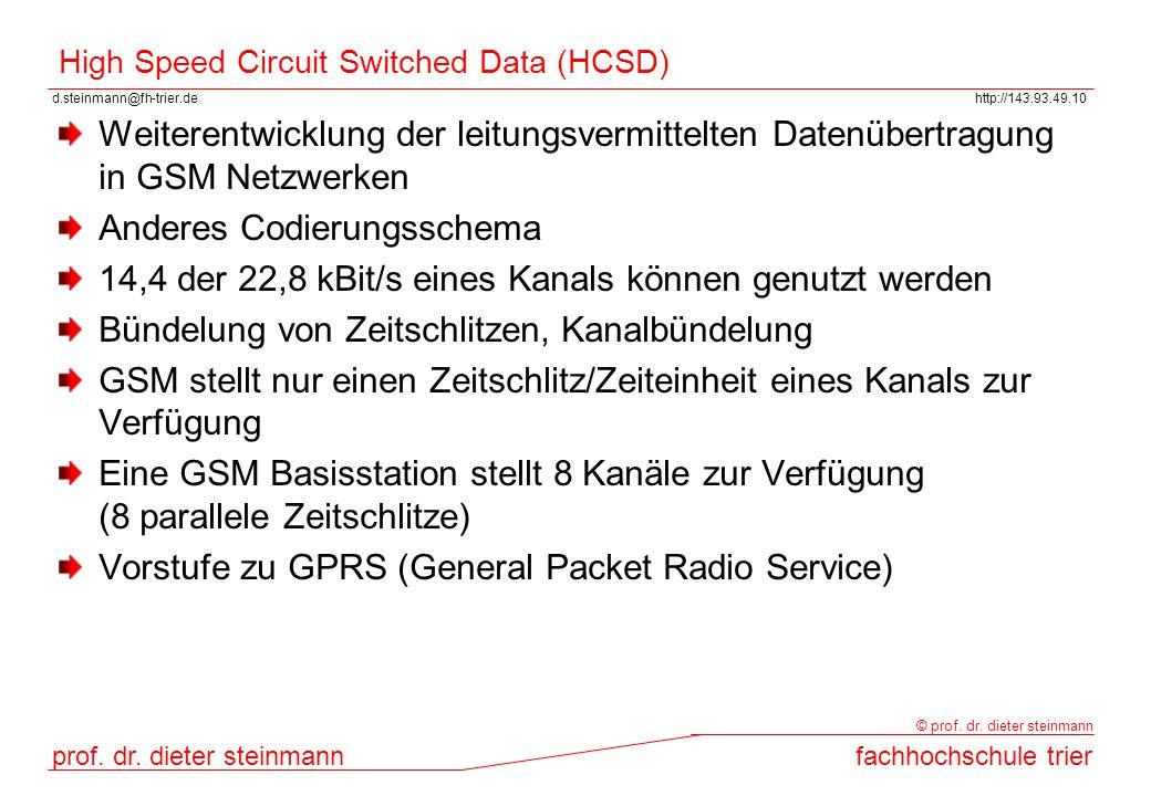 d.steinmann@fh-trier.dehttp://143.93.49.10 prof. dr. dieter steinmannfachhochschule trier © prof. dr. dieter steinmann High Speed Circuit Switched Dat