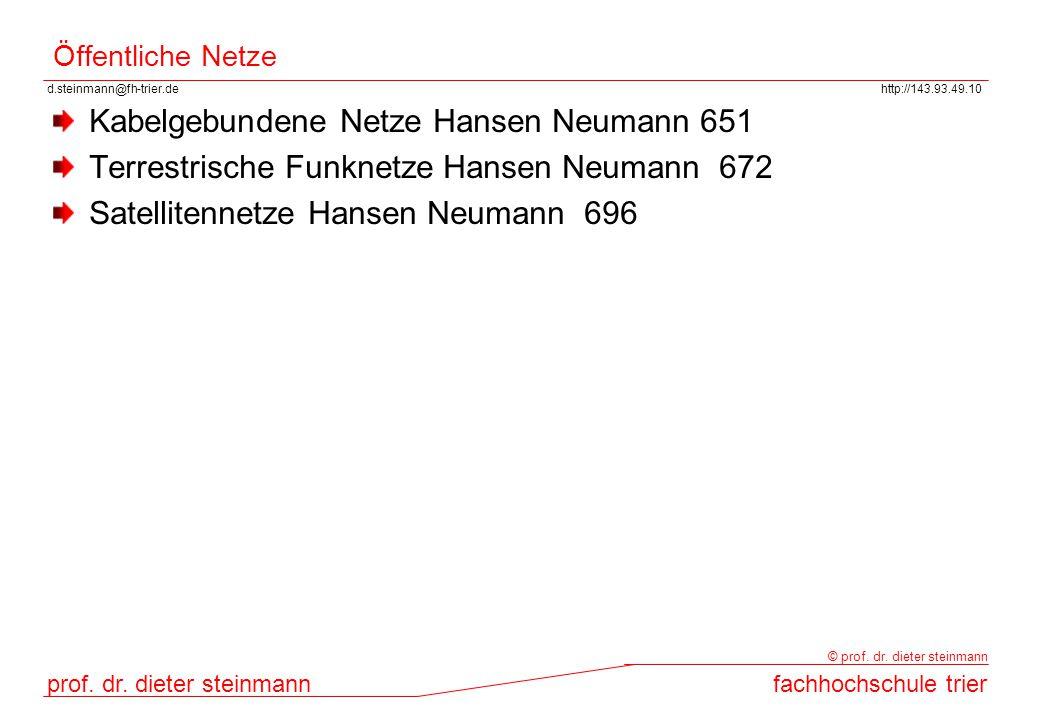d.steinmann@fh-trier.dehttp://143.93.49.10 prof. dr. dieter steinmannfachhochschule trier © prof. dr. dieter steinmann Öffentliche Netze Kabelgebunden