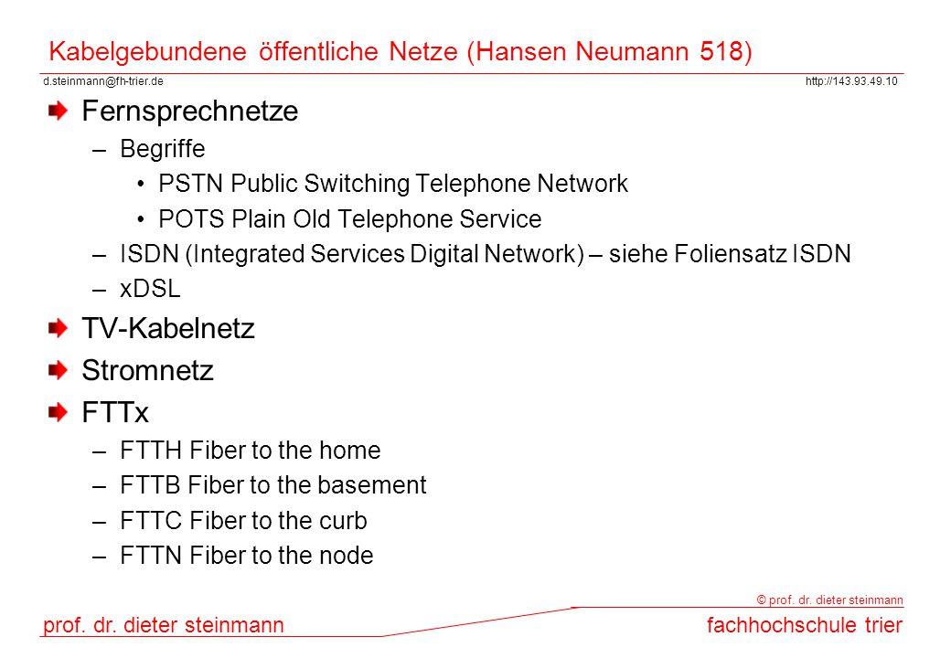 d.steinmann@fh-trier.dehttp://143.93.49.10 prof. dr. dieter steinmannfachhochschule trier © prof. dr. dieter steinmann Kabelgebundene öffentliche Netz