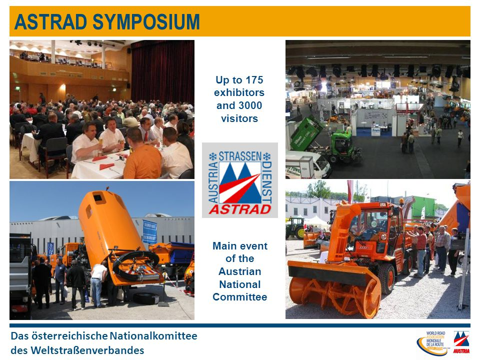 Das österreichische Nationalkomittee des Weltstraßenverbandes ASTRAD SYMPOSIUM Up to 175 exhibitors and 3000 visitors Main event of the Austrian National Committee