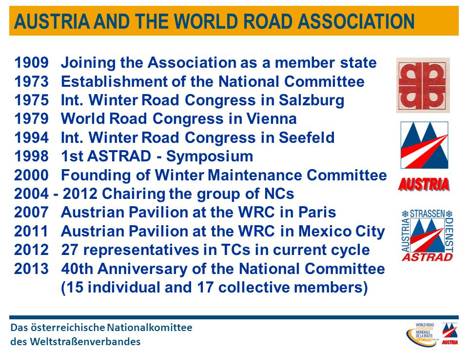 Das österreichische Nationalkomittee des Weltstraßenverbandes AUSTRIA AND THE WORLD ROAD ASSOCIATION 1909Joining the Association as a member state 1973Establishment of the National Committee 1975 Int.
