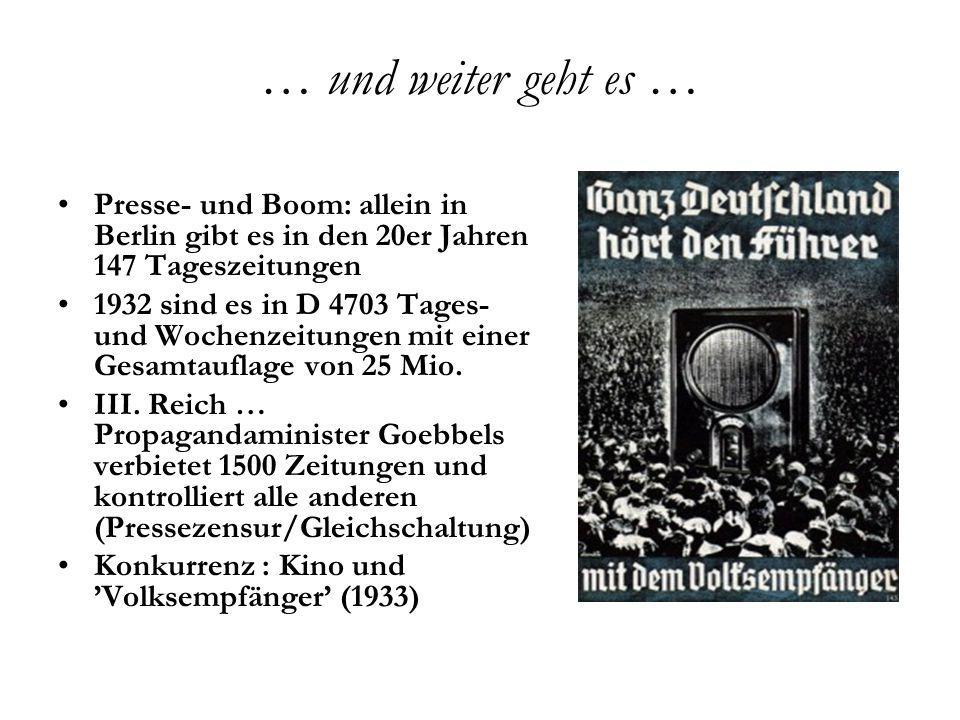 … nach dem Krieg … 1945 … die westlichen Alliierten begünstigen die Presse zur demokratischen Erziehung, für Zeitungsverleger mit «Persilschein» (Entnazifizierung) … neue Pressezentren in Hamburg, Frankfurt und München entstehen 1.