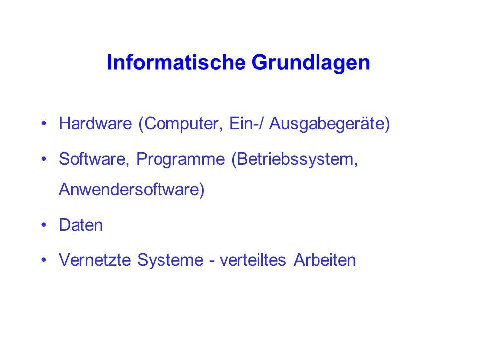 Informatische Grundlagen Hardware (Computer, Ein-/ Ausgabegeräte) Software, Programme (Betriebssystem, Anwendersoftware) Daten Vernetzte Systeme - ver