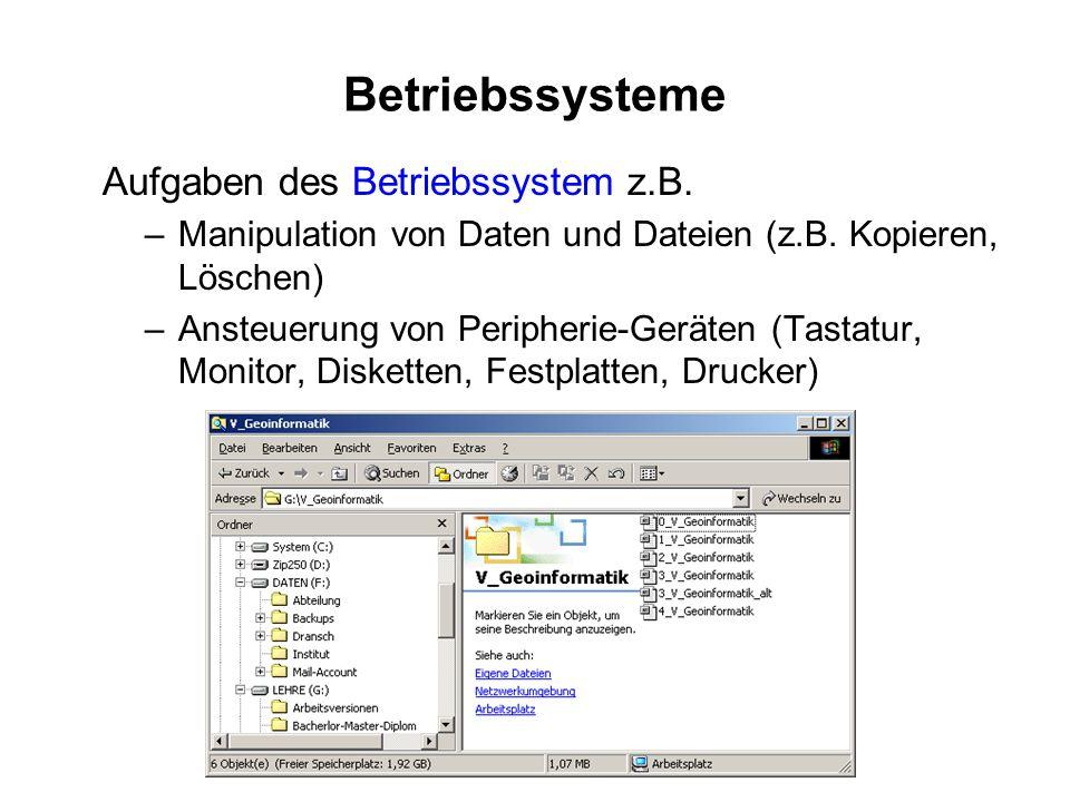 Betriebssysteme Aufgaben des Betriebssystem z.B. –Manipulation von Daten und Dateien (z.B. Kopieren, Löschen) –Ansteuerung von Peripherie-Geräten (Tas
