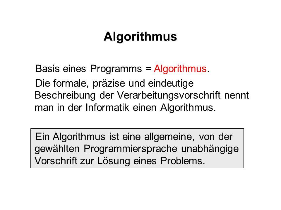 Algorithmus Basis eines Programms = Algorithmus. Die formale, präzise und eindeutige Beschreibung der Verarbeitungsvorschrift nennt man in der Informa