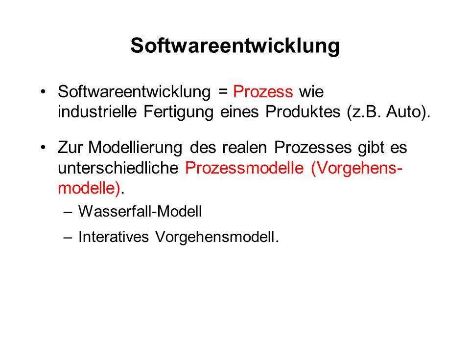Softwareentwicklung Softwareentwicklung = Prozess wie industrielle Fertigung eines Produktes (z.B. Auto). Zur Modellierung des realen Prozesses gibt e
