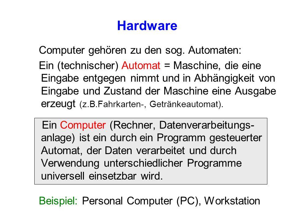 Hardware Computer gehören zu den sog. Automaten: Ein (technischer) Automat = Maschine, die eine Eingabe entgegen nimmt und in Abhängigkeit von Eingabe