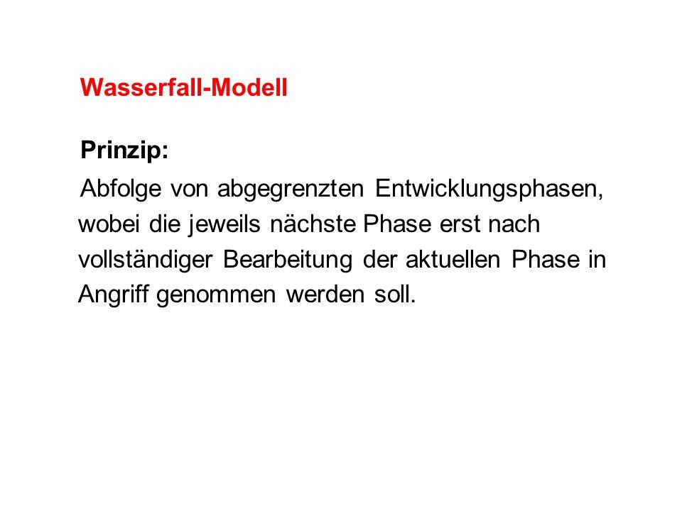 Wasserfall-Modell Prinzip: Abfolge von abgegrenzten Entwicklungsphasen, wobei die jeweils nächste Phase erst nach vollständiger Bearbeitung der aktuel