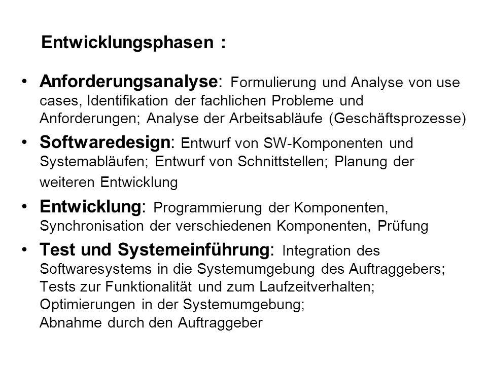 Entwicklungsphasen : Anforderungsanalyse: Formulierung und Analyse von use cases, Identifikation der fachlichen Probleme und Anforderungen; Analyse de